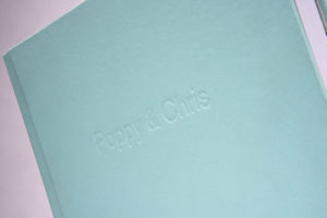 Text on wedding albums